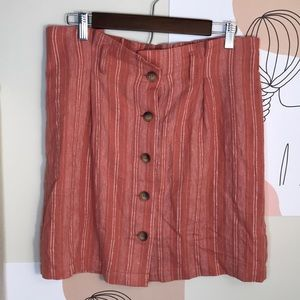 Topshop striped button front skirt size 10